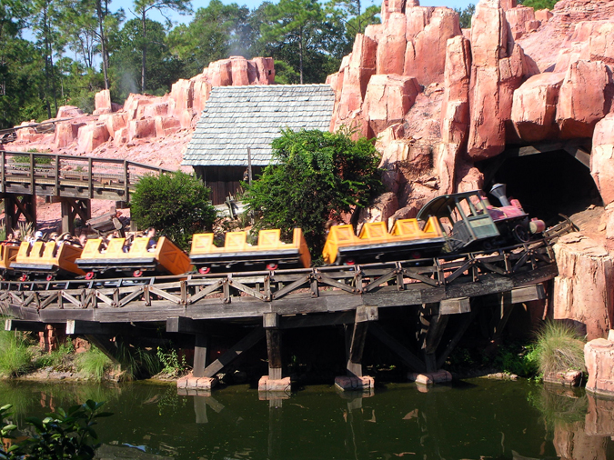 Big Thunder Mountain Railroad speeds by the Rivers of America