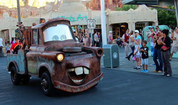 Tow Mater greets Guests in the heart of Carsland at Disney California Adventure