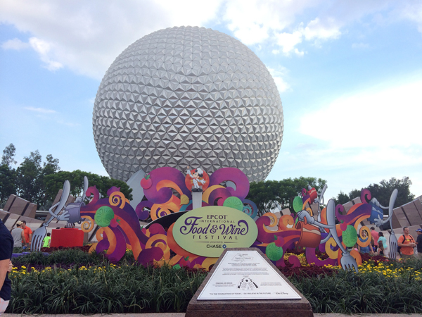 The entrance to Epcot during the Epcot International Food & Wine Festival 2014